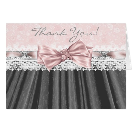 Pink Grey Damask Pink Grey Thank You Cards