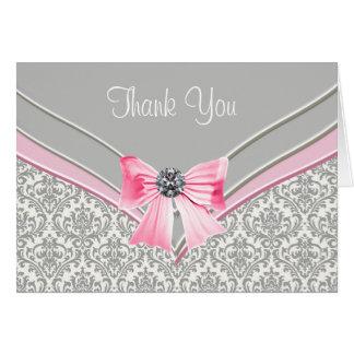 Pink Grey Damask Thank You Card