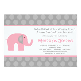 Pink Grey Elephant Baby Shower Invitation
