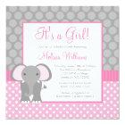 Pink Grey Elephant Polka Dot Girl Baby Shower Card