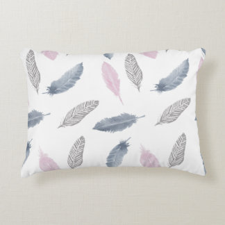 Pink Grey Feathers Cushion
