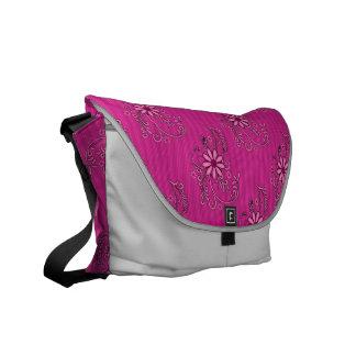 Pink Grey Floral Damask Messenger Bag Courier Bag