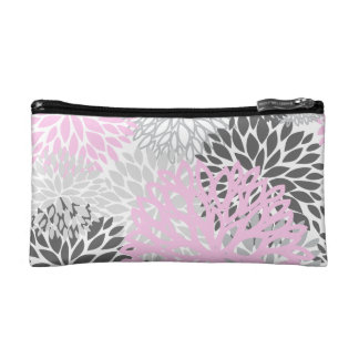 Pink & Grey Flower Cosmetic & Travel Pouches Makeup Bags