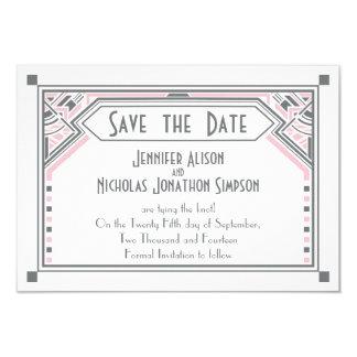 Pink - Grey Gatsby Art Deco Wedding Save the Date 9 Cm X 13 Cm Invitation Card