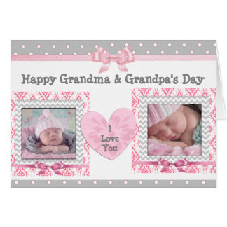 """Pink & Grey Grandparent's Day """"I Love You"""" Card"""