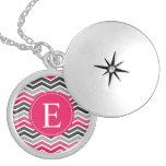 Pink Grey Gray Chevron Monogram Custom Necklace