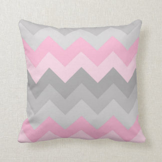 Pink Grey Gray Ombre Chevron Cushion