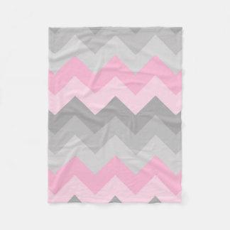 Pink Grey Gray Ombre Chevron Fleece Blanket