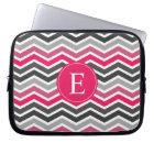 Pink Grey Grey Chevron Monogram Laptop Sleeve