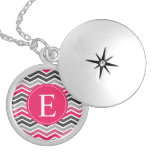 Pink Grey Grey Chevron Monogram Round Locket Necklace