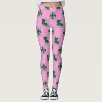 Pink & Grey Louisiana Fleur De Lis Pattern Tights