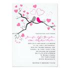 Pink, Grey Lovebirds & Hearts Wedding Invitation