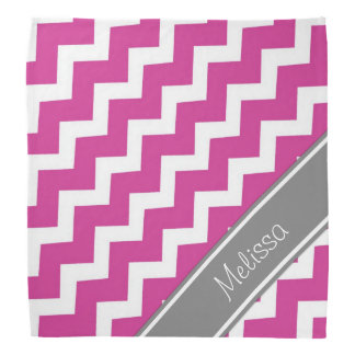 Pink Grey Monogram Chevron Pattern Bandana