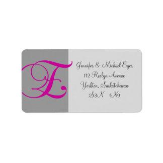 Pink Grey Monogram E Wedding RSVP Address Label #1