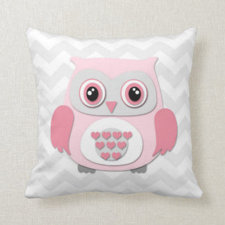 Pink Grey Owl Nursery Throw Pillow