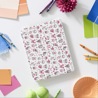 Pink grey owls pattern iPad cover