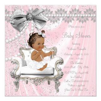 Pink Grey Pearl Chair Ethnic Girl Baby Shower Card