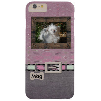 Pink Grey Pet Photo Striped Collar Name template Barely There iPhone 6 Plus Case