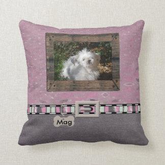 Pink Grey Pet Photo Striped Collar Name template Cushion