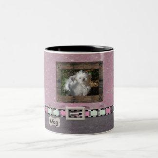 Pink Grey Pet Photo Striped Collar Name template Two-Tone Coffee Mug