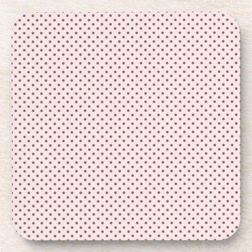 Pink Grey Polka Dots Coasters