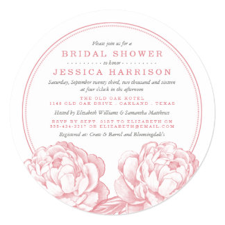 Pink & Grey Pretty Peony Floral Bridal Shower 13 Cm X 13 Cm Square Invitation Card