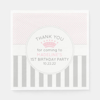 Pink Grey princess crown birthday party napkins Disposable Serviettes