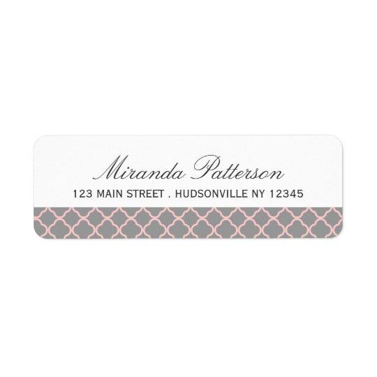 Pink + Grey Quatrefoil Address Labels