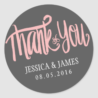 Pink Grey Thank You Sticker with Calligraphy Font