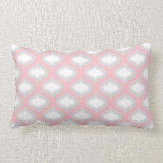 Pink & Grey Tile Waves Lumbar Pillow