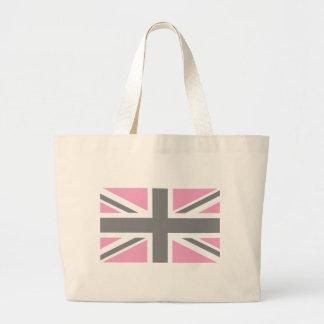 Pink Grey Union Jack British UK Flag Canvas Bags