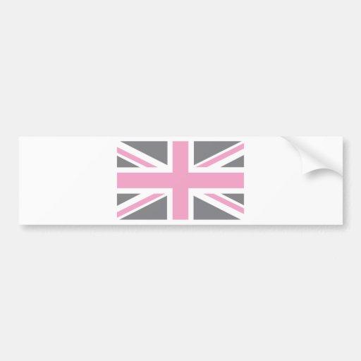 Pink Grey Union Jack British(UK) Flag Bumper Stickers