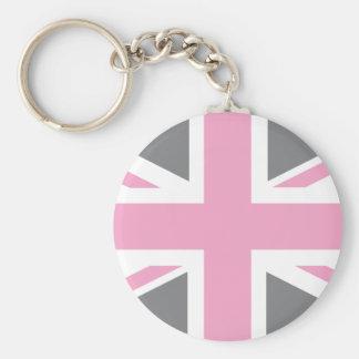 Pink Grey Union Jack British(UK) Flag Keychains
