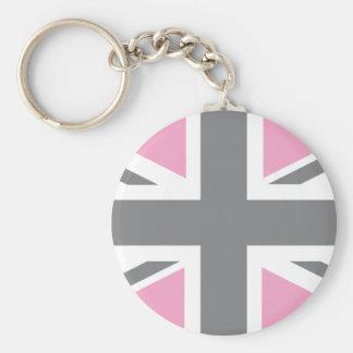 Pink Grey Union Jack British UK Flag Key Chain