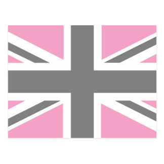 Pink Grey Union Jack British UK Flag Post Card