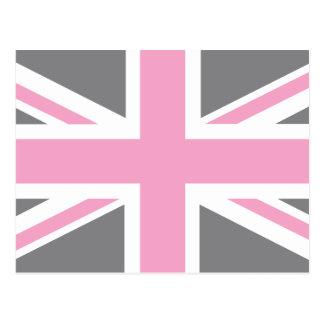 Pink Grey Union Jack British(UK) Flag Postcard