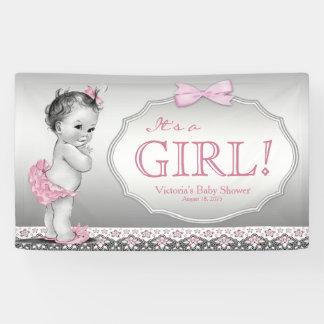 Pink Grey Vintage Baby Girl Baby Shower Banner
