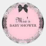 Pink & Grey Vintage Chic Baby Shower Sticker