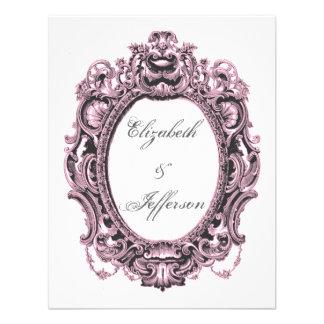 Pink Grey Vintage Frame Wedding Reply Card Custom Invitations