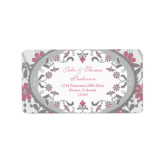 Pink Grey Vintage Victorian Wedding Return Address Label