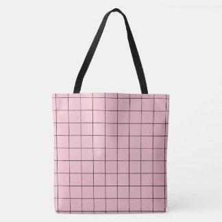 Pink grid tote bag