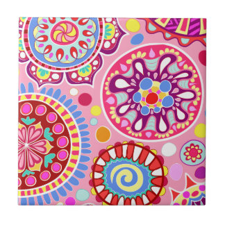 Pink Groovy Abstract Art Ceramic Tile