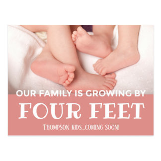 Pink Growing by 4 Feet Modern Adoption New Baby Postcard
