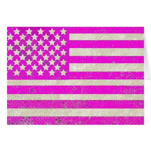 Pink grunge American flag Card