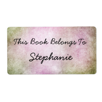 pink grunge Bookplate Shipping Label