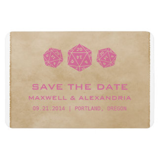 Pink Grunge D20 Dice Gamer Save the Date Magnet