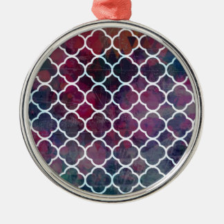 Pink Grunge Moroccan Style Metal Ornament