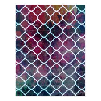 Pink Grunge Moroccan Style Postcard