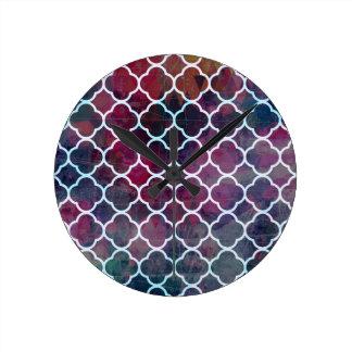 Pink Grunge Moroccan Style Round Clock