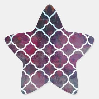 Pink Grunge Moroccan Style Star Sticker